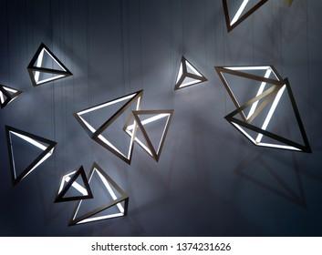 "Milan/Italy-04.13.2019:  Exhibition of light ""Euroluce 2019"""