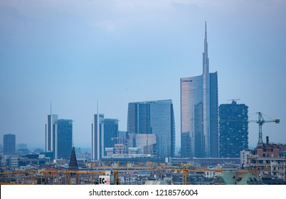 MILAN,ITALY-11 OCTOBER,2018: Downtown skyscrapers in Milano city