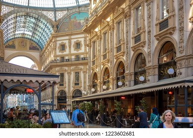 MILAN,ITALY-12 OCTOBER,2018: Luxury shopping center Galeria di Vittorio Emanuele in center of Milano.Popular tourists landmark.Ancient mall with top fashion stores.Buy new clothes from famous brands
