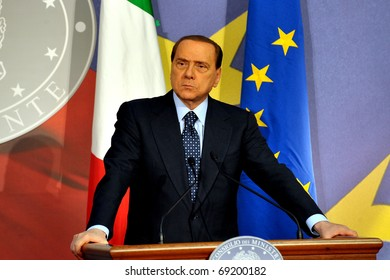 MILAN,ITALY-DECEMBER 1: Italian Prime Minister Silvio Berlusconi and European Parliament President Herman van Rompuy attend a press conference on December 1, 2009 in Milan Italy