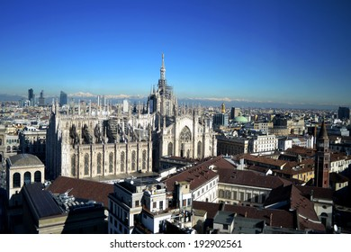 MILAN,ITALY-DECEMBER 5: panoramic view Cathedral of Milan December 5, 2013 in Milan Italy