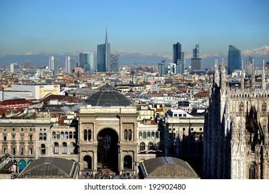 MILAN,ITALY-DECEMBER 5: panoramic view of Milan December 5, 2013 in Milan Italy