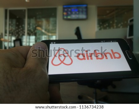 Milan Italy July 2018 Airbnb Logo On Smartphon Stock Photo Edit Now