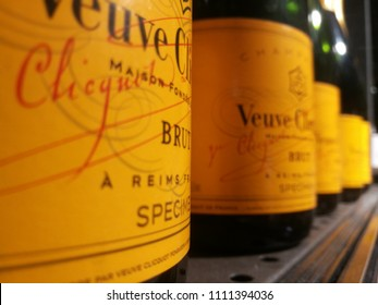 Milan,Italy-June 2018: Close Up of Bottles of French Champagne Veuve Clicquot with Orange Label