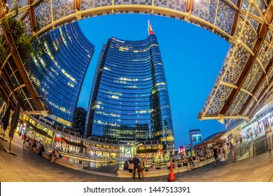 MILAN,ITALY-JUNE 28,2019:Wide angle view of the skyscrapers in Gae Aulenti square the new financial district at Porta Garibaldi,with Unicredit Bank Tower the tallest skyscraper in Italy by Cesar Pelli