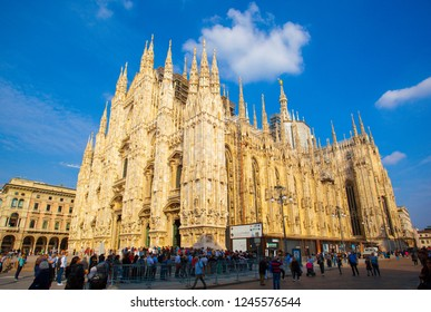 MILAN/ITALY-OCT 16: Milan cathedral(Duomo di Milano) on Oct 16 2018 in Milan, Italy.