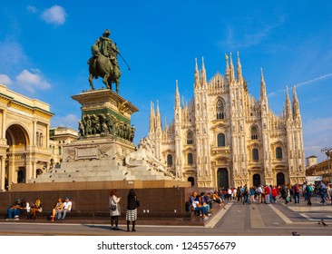 MILAN/ITALY-OCT 16: Milan cathedral(Duomo di Milano) and Square on Oct 16 2018 in Milan, Italy.