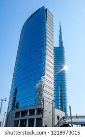 MILAN-ITALY-OCTOBER 12 2018:  Unicredit Bank skyscraper in the Porta Garibaldi district, piazza Gae Aulenti. Blue sky background