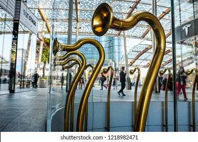 MILAN-ITALY-OCTOBER 13,  2018: The Egg, communication Trumpets, is the artistic installation by Alberto Garutti, in piazza Gae Aulenti, Porta Nuova district, Milan