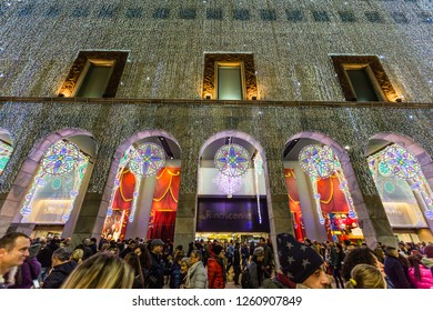 Milan,Lombardy,Italy- December 09 2018:Here we are still in the Cathedral square and this is la Rinascente,a large stock of fashion dresses with several famous brands
