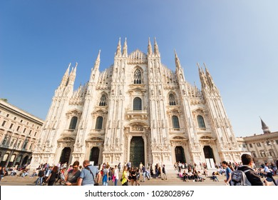 Milan,(milano) Italy - october 13, 2017: People at Duomo square in front of Milan Cathedral, Cathedral square with the tourist in autumn.