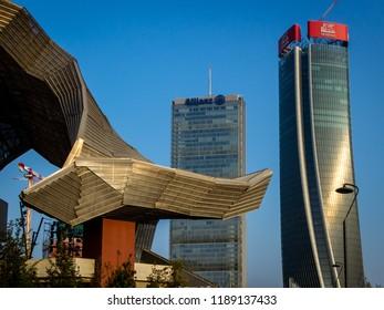 Milano 20/09/2018 skyscraper behind the Milan's old trade fair