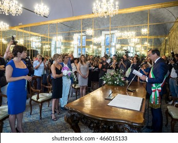 MILANO, AUGUST 5, 2016: The first gay couple to join civilly in the municipality of Milan, during the ceremony celebrated by mayor of Milan, Giuseppe Sala, at Palazzo Reale.
