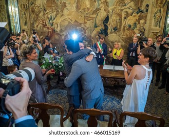 MILANO, AUGUST 5, 2016: The second gay couple to join civilly in the municipality of Milan, during the ceremony celebrated by mayor of Milan, Giuseppe Sala, at Palazzo Reale.