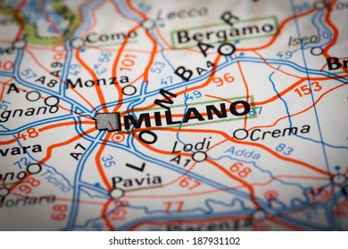 Milano city on a road map