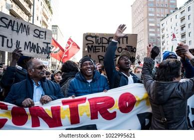 MILANO, FEBRUARY 10, 2018: Anti-racist and anti-fascist procession in Milan