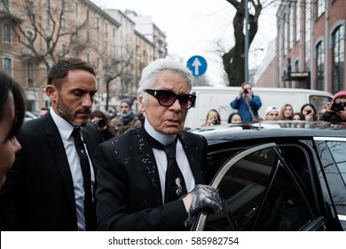 MILANO, FEBRUARY 23, 2017: Karl Otto Lagerfeld at the entrance of the Fendi's showroom to attend the Fendi fashion show during the Milan Fashion Week.