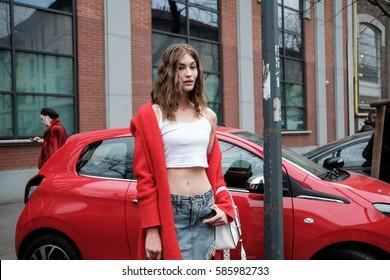 MILANO, FEBRUARY 23, 2017: Model, Grace Elizabeth, outside the Fendi's showroom after the Fendi Fashion Show during the Milan Fashion Week.