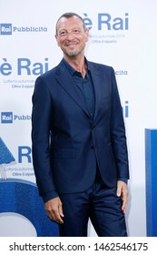 MILANO, ITALIA - JULY 9 : Amadeus attends RAI's press conference of program schedules for the television season 2019/2020 on July 9, 2019 in Milan, Italy.