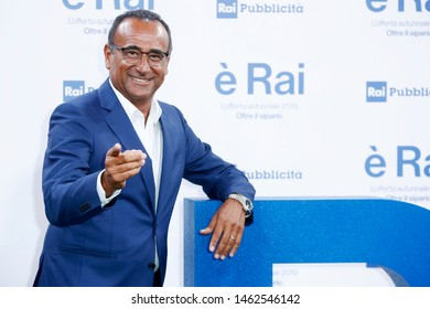 MILANO, ITALIA - JULY 9 : Carlo Conti attends RAI's press conference of program schedules for the television season 2019/2020 on July 9, 2019 in Milan, Italy.