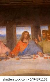 Milano, Italia - November 24, 2017 evocative image of the Last Supper by Leonardo da Vinci in the  refectory of the Convent of Santa Maria delle Grazie, Patrimonio mondiale dell'UNESCO, detail