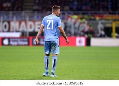 Milano, Italy. 03th November 2019. Italian Serie A. Ac Milan vs Ss Lazio. Sergej Milinkovic-Savic of Ss Lazio.