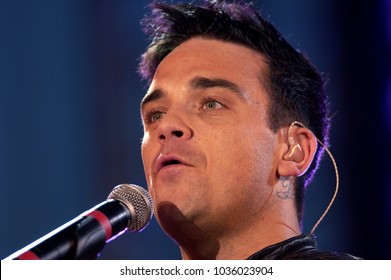 "Milano Italy 05/31/2003, Civic Arena :  Robbie Williams in concert during the musical event ""Festivalbar 2003""."