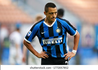 Milano, Italy. 05th July 2020. Italian Football Serie A. Alexis Sanchez of FC Internazionale  during the Serie A match between FC Internazionale and Bologna Calcio.