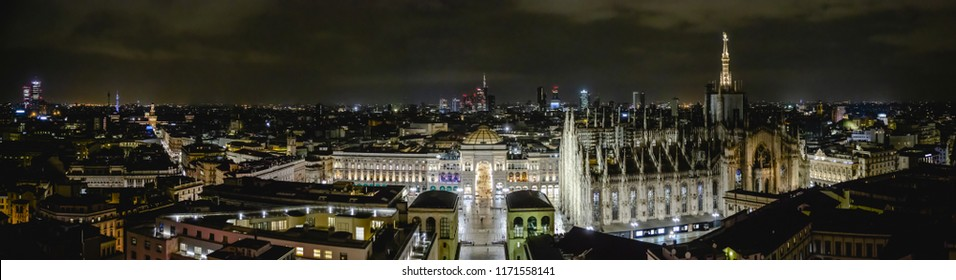 Milano, Italy - 08 31 2018: Duomo di Milano - galleria Vittorio Emanuele, aerial view - night - high resolution panorama