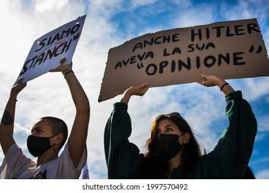 Milano, Italy, 08 maggio 2021, LGBT protest demonstration,  lgbt rights, Ddl zan