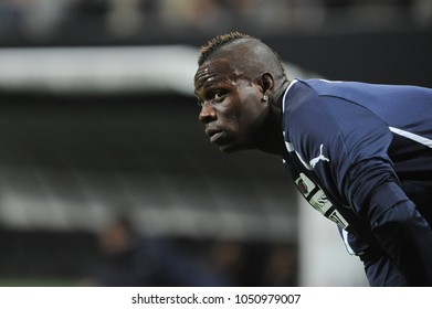 """Milano Italy 10/16/2012, """"Giuseppe Meazza"""" Stadium, Brazil 2014 World Cup Qualification, Italy-Danimarca match: Mario Balotelli during the warm up before the match"""