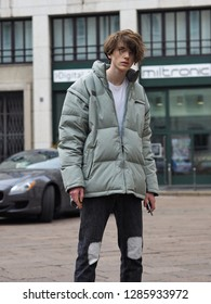 MILANO, Italy; 12 January 2019 Street style outfits before and after FRANKIE MORELLO fashion show during Milano Fashion Week Man fall/winter 2019/2020
