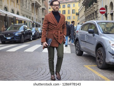 MILANO, Italy: 13 January 2019: Street style outfits after DAKS fashion show, during Milano fashion week Man fall/winter 2019/2020