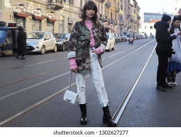MILANO, Italy: 13 January 2019: Street style outfit after JOHN RICHMOND fashion show, during Milano fashion week Man fall/winter 2019/2020