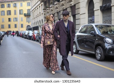 MILANO, Italy: 13 January 2019:Fashion bloggers street style outfits after DAKS fashion show, during Milano fashion week Man fall/winter 2019/2020