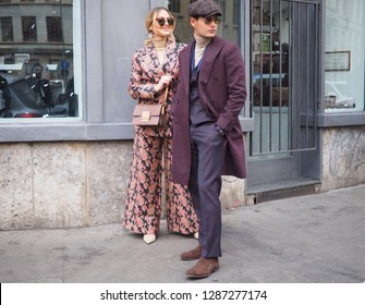 MILANO, Italy: 13 January 2019:Giulia Gaudino and Frank Gallucci street style outfit before DAKS fashion show during Milano Fashion Week man Fall/winter 2019/2020