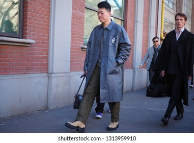 MILANO, Italy: 14 January 2019: Fashion bloggers street style outfits after FENDI fashion show during Milano Fashion Week man Fall/winter 2019/2020