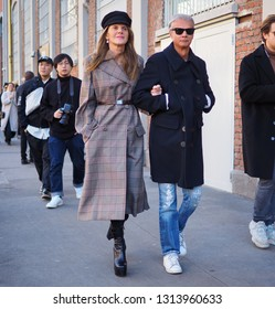 MILANO, Italy: 14 January 2019: Anna dello Russo street style outfit before  FENDI fashion show during Milano Fashion Week man Fall/winter 2019/2020