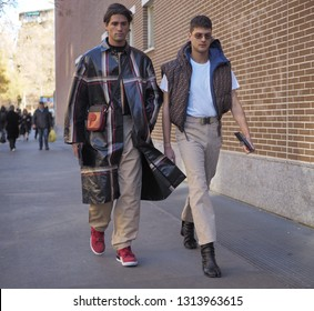 MILANO, Italy: 14 January 2019: Marc Forne and Guido Milani street style outfits before FENDI fashion show during Milano Fashion Week man Fall/winter 2019/2020