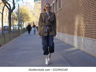 MILANO, Italy: 14 January 2019: Leonie Hanne  street style outfit before FENDI fashion show during Milano Fashion Week man Fall/winter 2019/2020