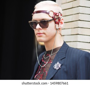 MILANO, Italy: 15 June 2019: Fashion blogger street style outfits before Neil Barrett fashion show during Milano Fashion Week man 2019/2020