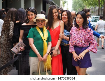 MILANO, Italy: 15 June 2019: Fashion blogger street style outfits before Dolce & Gabbana fashion show during Milano Fashion Week man 2019/2020
