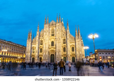 MILANO, ITALY, 15 MARCH 2019 : Piazza Duomo with People and Tourists over blue sky in Milan,Italy