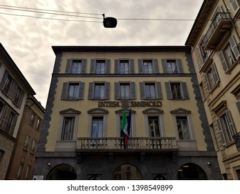 Milano, Italy – 15 May 2019: Facade of the ancient palace of Intesa Sanpaolo Bank in the centre of Milan at Paolo Ferrari square