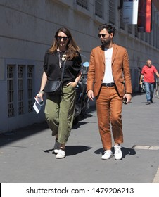 MILANO, Italy: 16 June 2019: Fashion bloggers street style outfits before Youser fashion show during Milano Fashion Week man  2019/2020