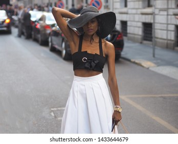 MILANO, Italy: 17 June 2019: Gisele de Assis street style outfit before Armani fashion show during Milano Fashion Week Man 2019/2020