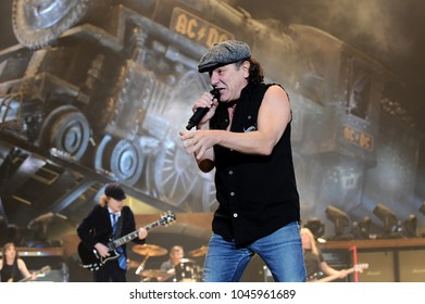 Milano Italy  19/03/2009 : Live concert of AC/DC at the Mediolanum Forum of Assago,Brian Johnson  during the concert