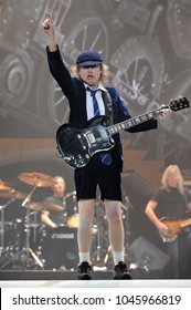 Milano Italy  19/03/2009 : Live concert of ACDC at the Mediolanum Forum of Assago,Angus Young during the concert