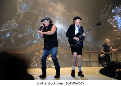 Milano Italy  19/03/2009 : Live concert of ACDC at the Mediolanum Forum of Assago,Angus Young and Brian Johnson during the concert