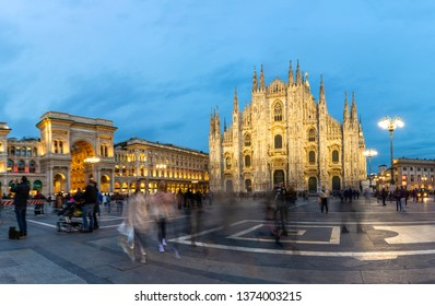 MILANO, ITALY, 2019 : Piazza Duomo with People and Tourists during sunset in Milan,Italy